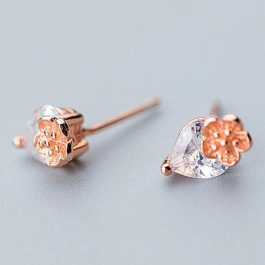 Sterling Silver Crystal Drop Flower Studs - Rose Gold Plated Flower Studs - Tiny Rose Studs Lux & Rose