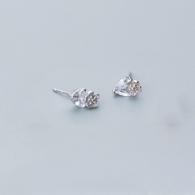 Sterling Silver Crystal Drop Flower Studs - Rose Gold Plated Flower Studs - Tiny Rose Studs Lux & Rose Silver