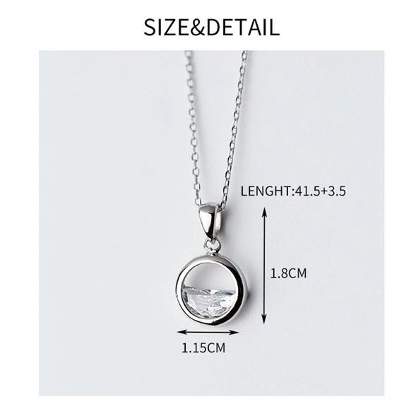 Sterling Silver Crystal Round Pendant Necklace - 925 Real Silver Ocean Necklace - Elegant Silver Water Drop Necklace Lux & Rose