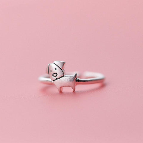 Sterling Silver Cute Dog Ring - 925 Real Silver Adjustable Ring - Cute Silver Rings - Puppy Ring - Dog Mum Gift Lux & Rose