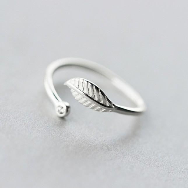 Sterling Silver Cute Leaf Ring - 925 Real Silver Ring - Classic Silver Ring - Adjustable Cocktail Ring Lux & Rose