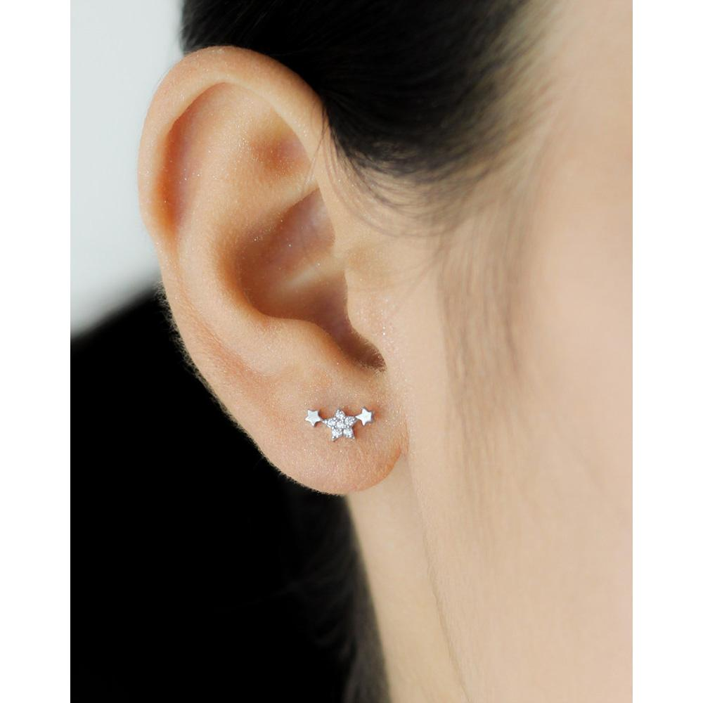 Sterling Silver Cute Star CZ Stud Earrings - 925 Cute Heart Earring - Traditional Silver Earrings Lux & Rose