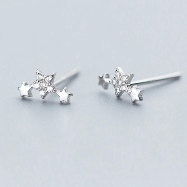 Sterling Silver Cute Star CZ Stud Earrings - 925 Cute Heart Earring - Traditional Silver Earrings Lux & Rose Default Title