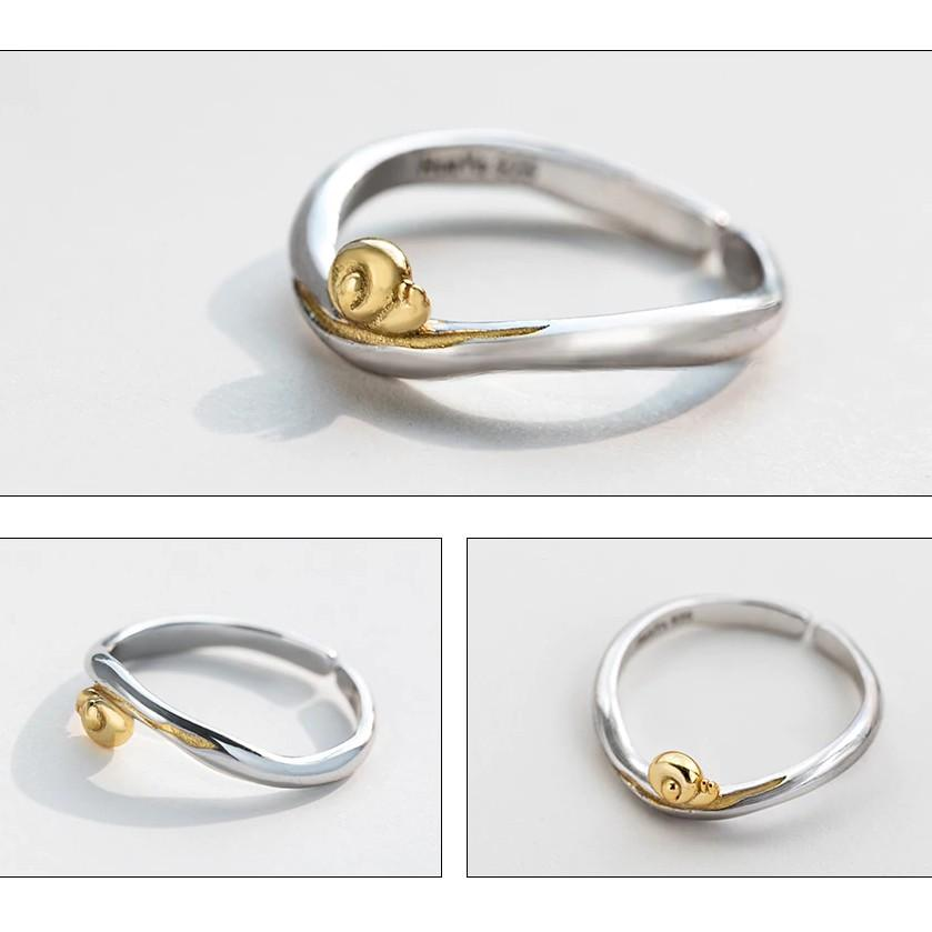 Sterling Silver Cute Tiny Golden Snail Two Tone Ring - 925 Real Silver Tiny Snail Ring - Cute Silver Ring - Adjustable Silver Ring Lux & Rose