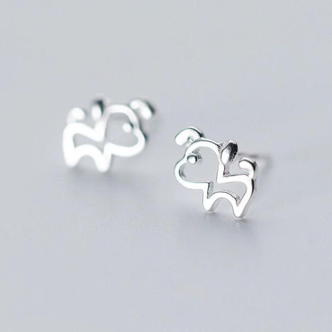 Sterling Silver Cute Tiny Outline Dog Stud Earrings - 925 Real Silver Earrings - Playful Silver Earrings Lux & Rose