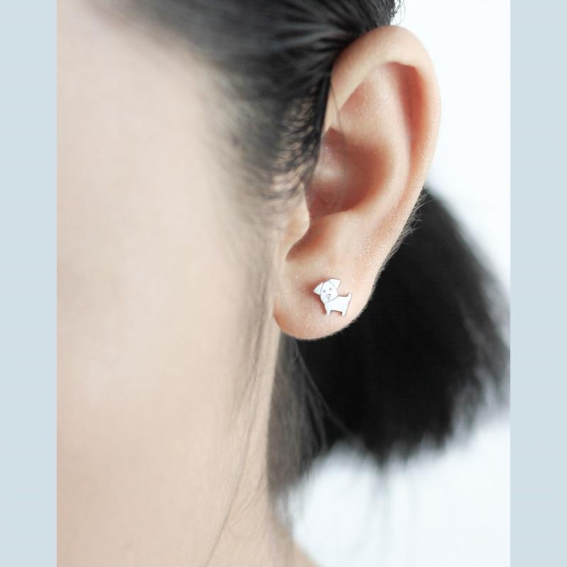 fa77eabde Sterling Silver Cute Tiny Outline Dog Stud Earrings - 925 Real Silver  Earrings - Playful Silver