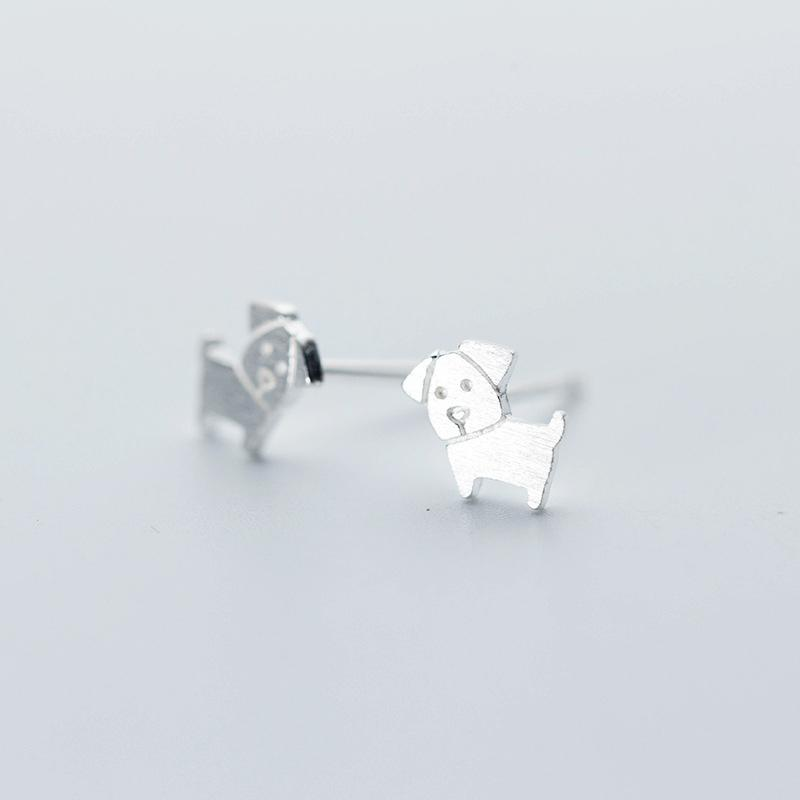 Sterling Silver Cute Tiny Outline Dog Stud Earrings - 925 Real Silver Earrings - Playful Silver Earrings Lux & Rose DS291
