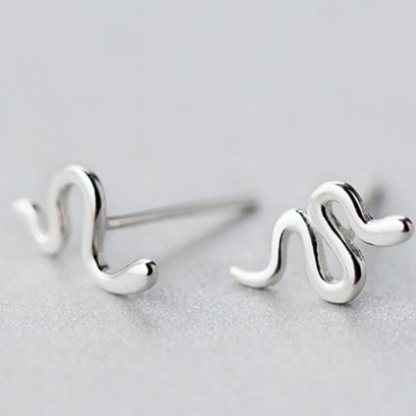 Sterling Silver Cute Tiny Snake Stud Earring - 925 Real Silver Earrings - Playful Silver Earrings Lux & Rose Default Title