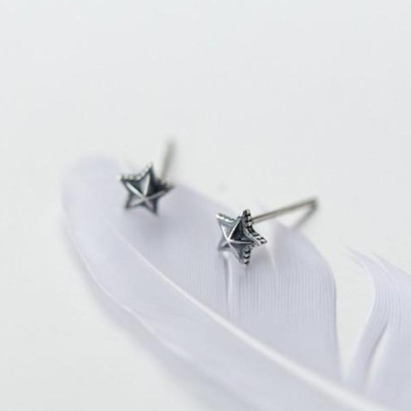 Sterling Silver Cute Tiny Star Stud Earrings - 925 Real Silver Earrings - Playful Silver Earrings Lux & Rose