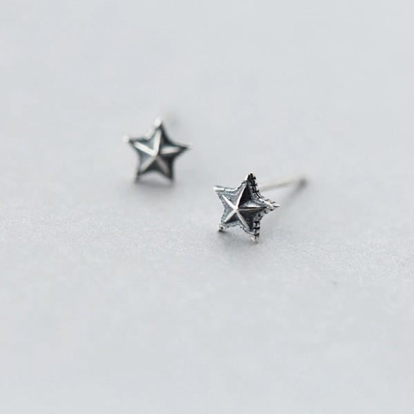 Sterling Silver Cute Tiny Star Stud Earrings - 925 Real Silver Earrings - Playful Silver Earrings Lux & Rose Default Title
