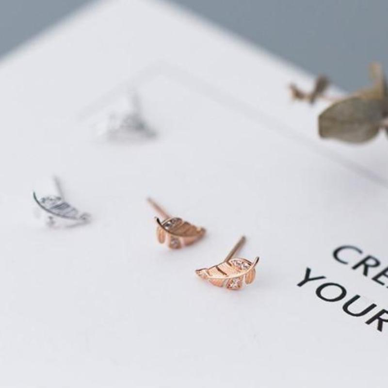 Sterling Silver CZ Twig Stud Earrings - 925 Stud Earrings - 925 Real Silver Earrings - Playful Silver Earrings - Leaf Stud Earrings - Leaves Stud Earrings Lux & Rose