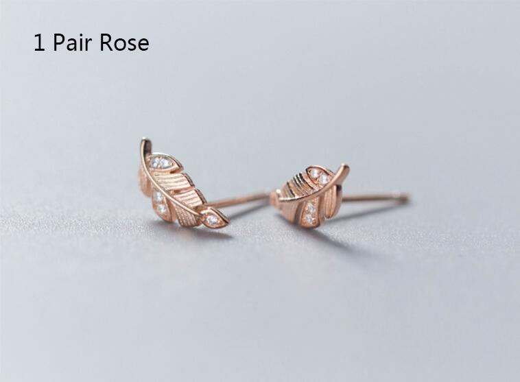 Sterling Silver CZ Twig Stud Earrings - 925 Stud Earrings - 925 Real Silver Earrings - Playful Silver Earrings - Leaf Stud Earrings - Leaves Stud Earrings Lux & Rose Rose