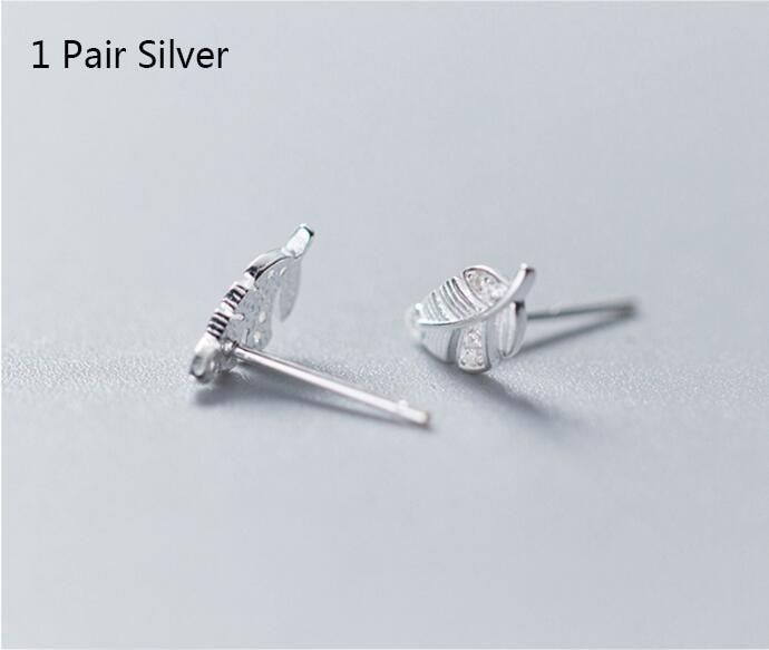 Sterling Silver CZ Twig Stud Earrings - 925 Stud Earrings - 925 Real Silver Earrings - Playful Silver Earrings - Leaf Stud Earrings - Leaves Stud Earrings Lux & Rose Silver