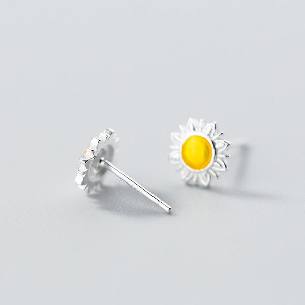 Sterling Silver Daisy Studs - Daisy Stud Earrings - Tiny Sunflower Earrings - Real Silver Flower Ear Studs Lux & Rose