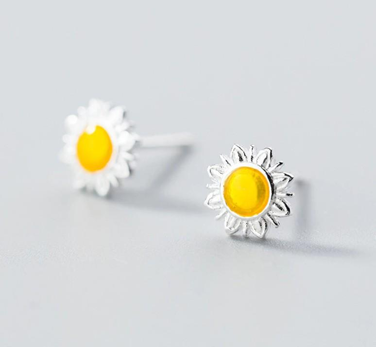 Sterling Silver Daisy Studs - Daisy Stud Earrings - Tiny Sunflower Earrings - Real Silver Flower Ear Studs Lux & Rose Default Title