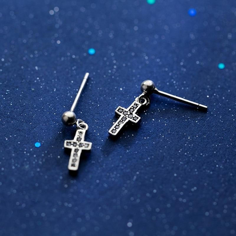 Sterling Silver Dangling Cross Earrings - Crystal Cross Stud Earrings - Black Cross Ear Studs - Tiny Cross Earrings - Cute Silver Studs Lux & Rose
