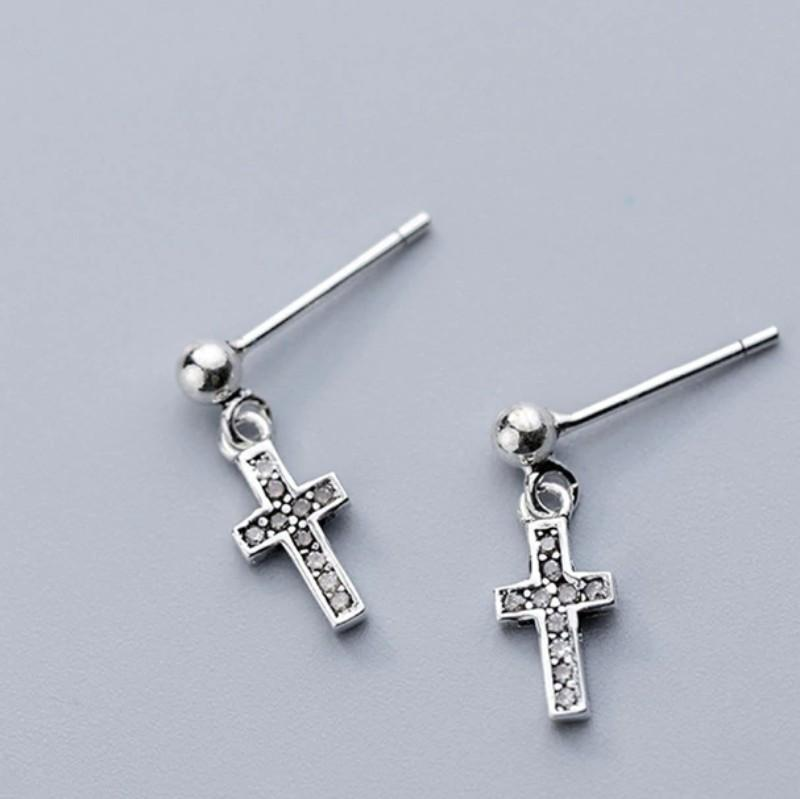 Sterling Silver Dangling Cross Earrings - Crystal Cross Stud Earrings - Black Cross Ear Studs - Tiny Cross Earrings - Cute Silver Studs Lux & Rose Default Title