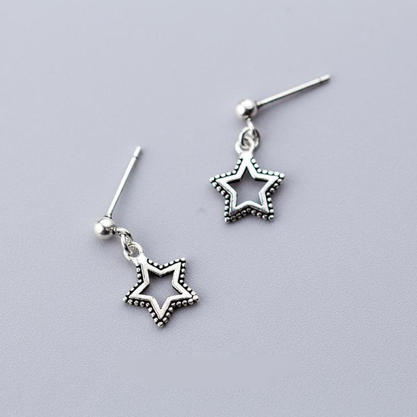 Sterling Silver Dangling Star Earrings - Tiny Star Dangle - Dangling Star Earrings - Cute Star Lux & Rose