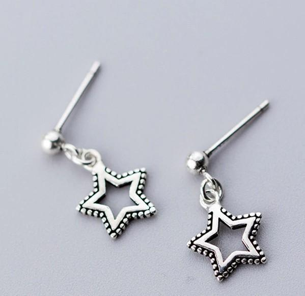Sterling Silver Dangling Star Earrings - Tiny Star Dangle - Dangling Star Earrings - Cute Star Lux & Rose Default Title