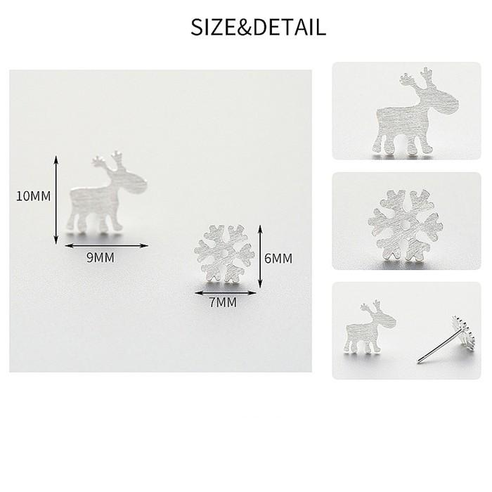 Sterling Silver Deer Snowflake Earrings - 925 Asymmetrical Stud Earrings - 925 Real Silver Christmas Earrings - Playful Holiday Silver Earrings Lux & Rose
