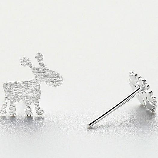 Sterling Silver Deer Snowflake Earrings - 925 Asymmetrical Stud Earrings - 925 Real Silver Christmas Earrings - Playful Holiday Silver Earrings Lux & Rose Default Title