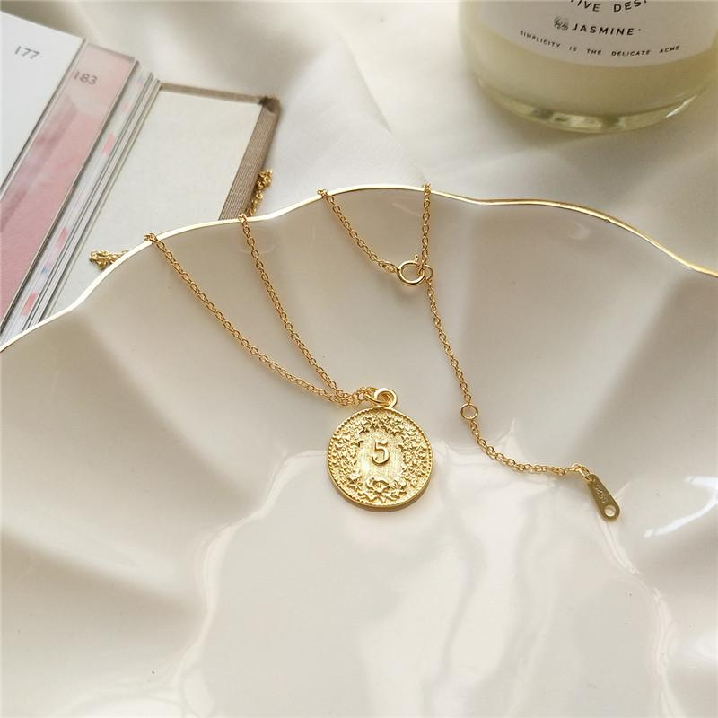 Sterling Silver Dollar Coin Pendant Necklace - 925 Real Silver Necklace - Classic Silver Necklace Lux & Rose