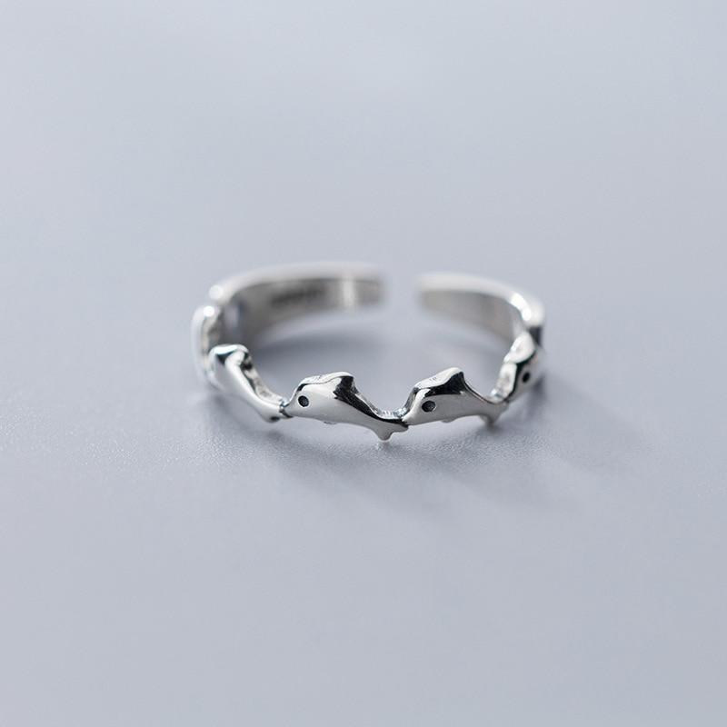 Sterling Silver Dolphins Ring - 925 Real Silver Ring - Classic Silver Ring - Adjustable Cocktail Ring Lux & Rose