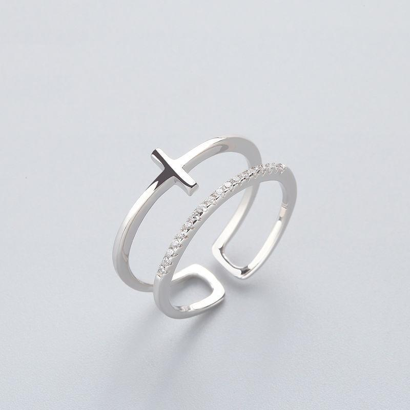 Sterling Silver Double Bar Bridal Cross Ring - 925 Real Silver Ring - Classic Silver Ring - Adjustable Cocktail Ring Lux & Rose