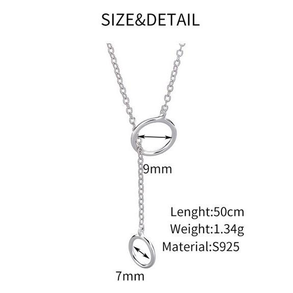 Sterling Silver Double Circle Necklace - 925 Real Silver Necklace - Classic Silver Necklace Lux & Rose