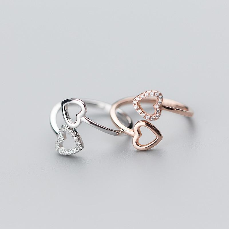 Sterling Silver Double Heart Ring - 925 Real Silver Ring - Classic Silver Ring Lux & Rose