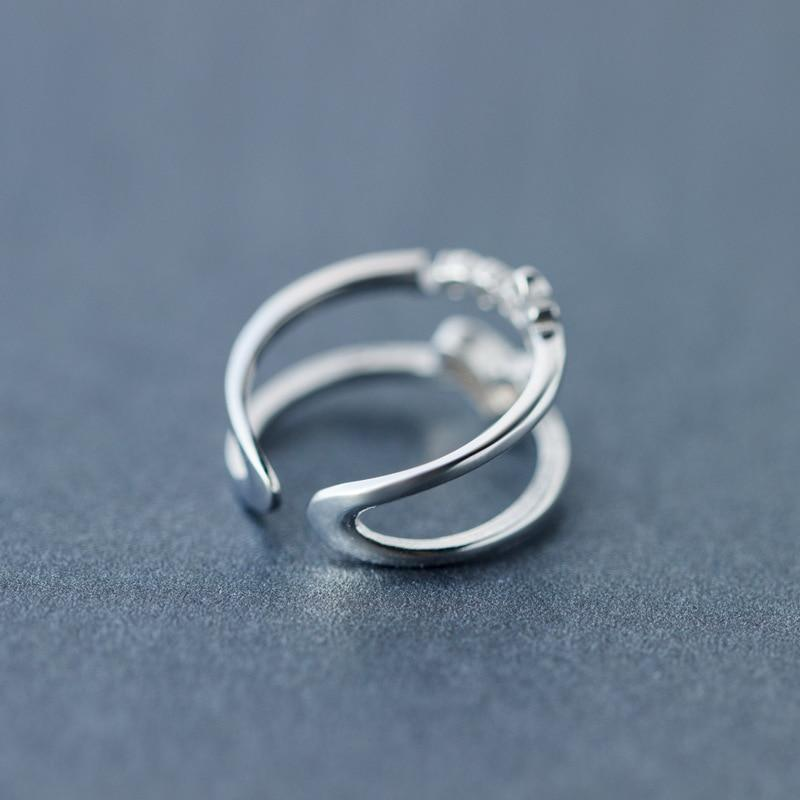 Sterling Silver Double Layer Heart Love Ring - 925 Real Silver Ring - Classic Silver Ring - Adjustable Cocktail Ring Lux & Rose