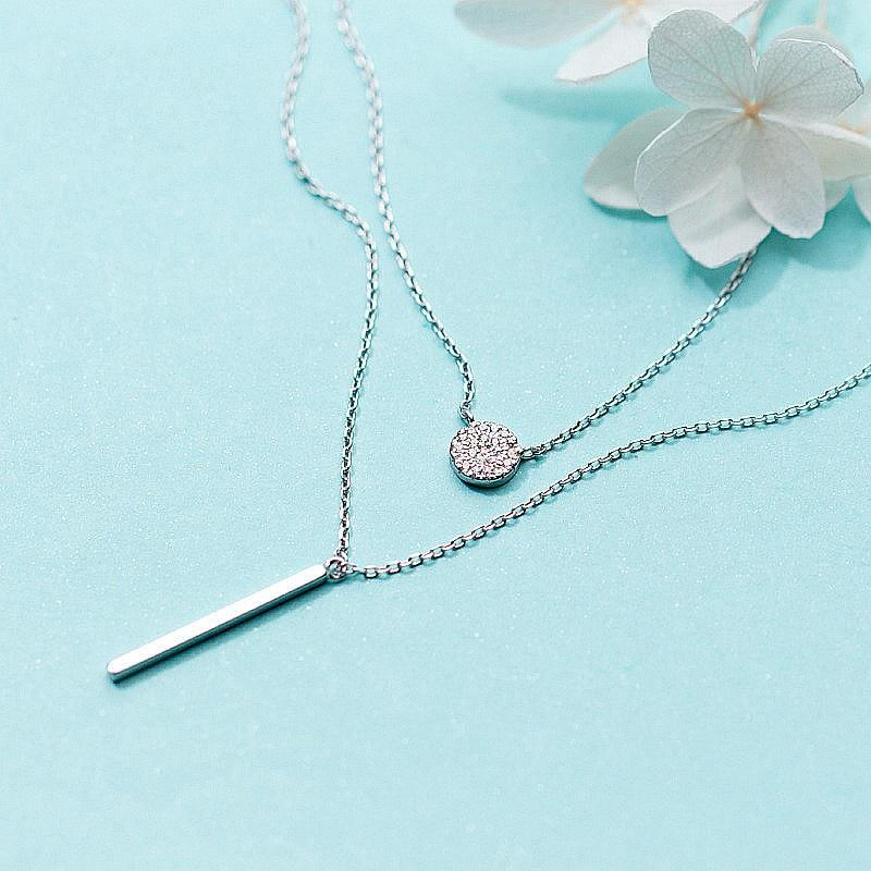 Sterling Silver Double Layer Pendant Necklace - 925 Real Silver Necklace - Classic Silver Necklace Lux & Rose