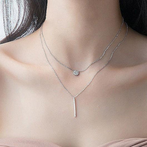 Sterling Silver Double Layer Pendant Necklace - 925 Real Silver Necklace - Classic Silver Necklace Lux & Rose Default Title