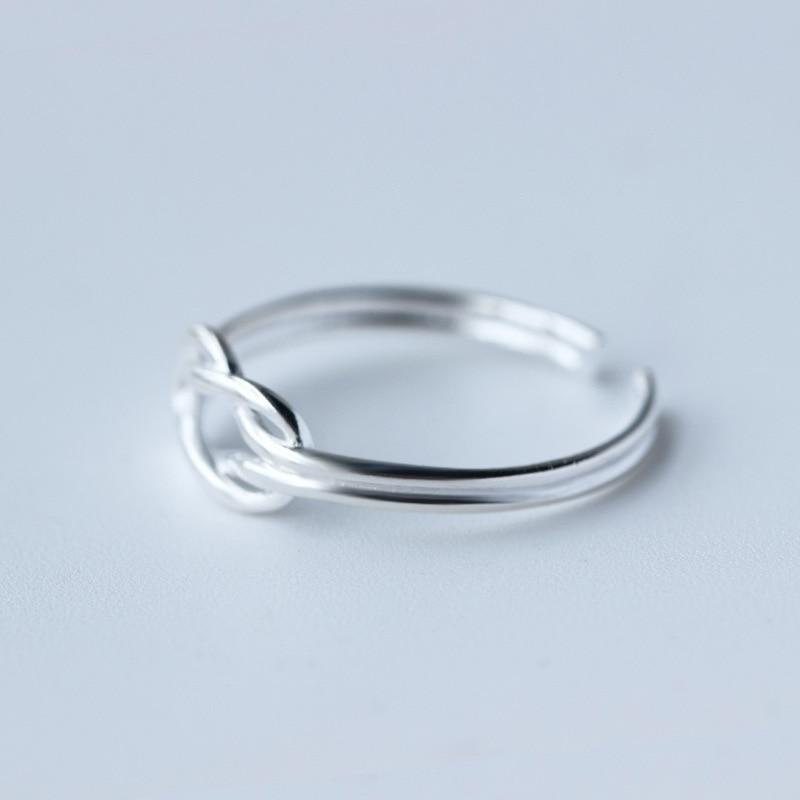 Sterling Silver Double Layer Ring - 925 Real Silver Ring - Classic Silver Ring - Adjustable Cocktail Ring Lux & Rose