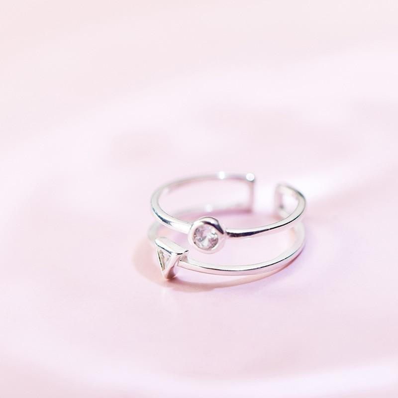 Sterling Silver Double Layer Round Triangle Ring - 925 Real Silver Ring - Classic Silver Ring - Adjustable Cocktail Ring - Nature Inspired Ring Lux & Rose