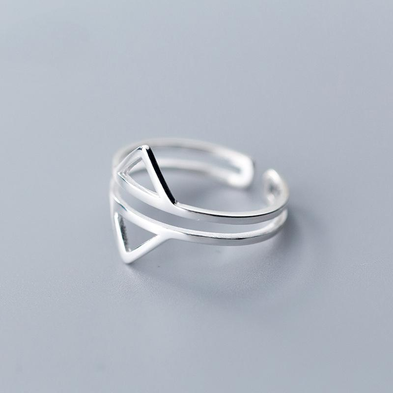 Sterling Silver Double Layer Triangles Ring - 925 Real Silver Ring - Classic Silver Ring - Adjustable Cocktail Ring Lux & Rose