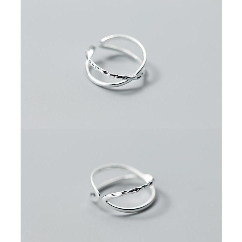 Sterling Silver Double Line Cross Ring - 925 Real Silver Ring - Classic Silver Ring - Adjustable Cocktail Ring Lux & Rose