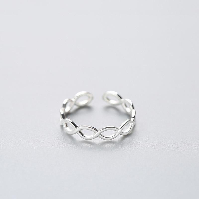 Sterling Silver Double Ring - 925 Real Silver Ring - Classic Silver Ring - Adjustable Cocktail Ring Lux & Rose