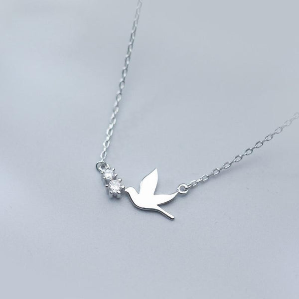 Sterling Silver Dove Necklace - 925 Real Silver Bird Necklace - Classic Silver Necklace - Peace Necklace Lux & Rose