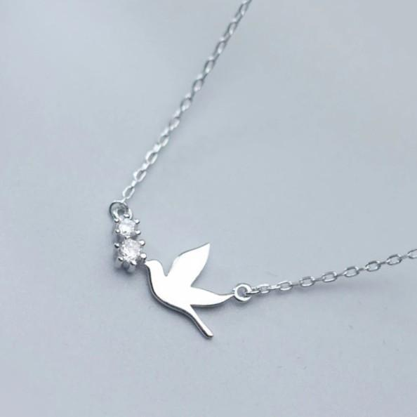 Sterling Silver Dove Necklace - 925 Real Silver Bird Necklace - Classic Silver Necklace - Peace Necklace Lux & Rose Default Title