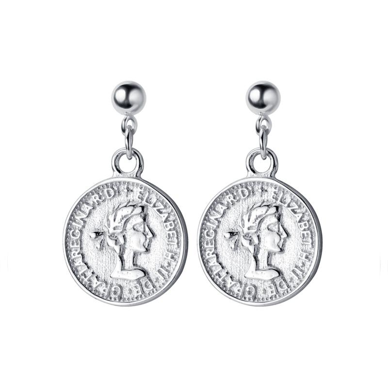 Sterling Silver Elizabeth Coin Earrings - Royal Dangle Earrings - 925 Real Silver Earrings - Playful Silver Earrings Lux & Rose