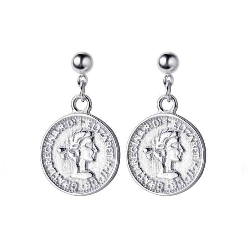 Sterling Silver Elizabeth Coin Earrings - Royal Dangle Earrings - 925 Real Silver Earrings - Playful Silver Earrings Lux & Rose Silver