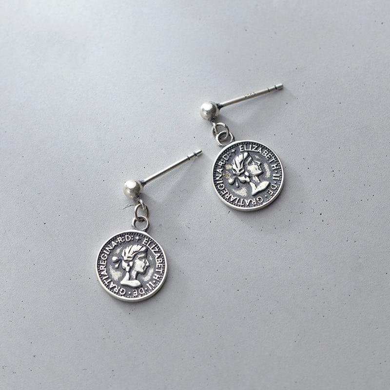 Sterling Silver Elizabeth Coin Earrings - Royal Dangle Earrings - 925 Real Silver Earrings - Playful Silver Earrings Lux & Rose Thai Silver