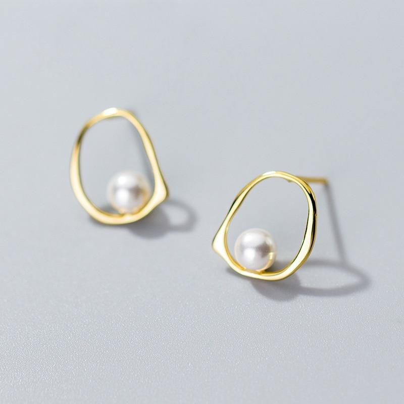Sterling Silver Ellipse Synthesis Pearl Stud Earrings - 925 Stud Earring - 925 Real Silver Earrings - Charming Silver Earrings Lux & Rose 1 pair Gold