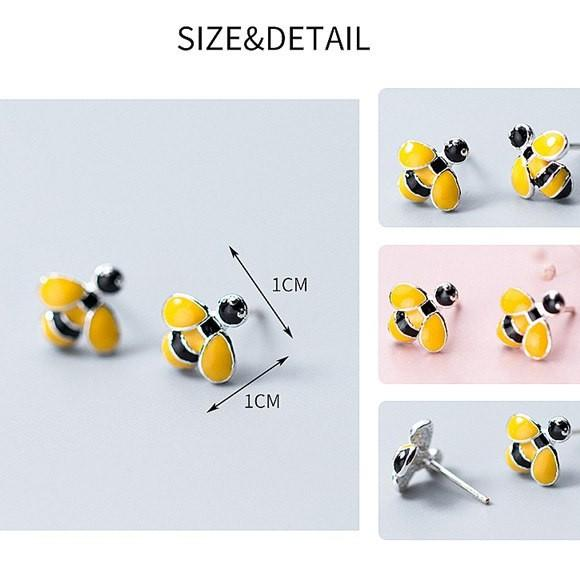 Sterling Silver Enamel Bee Stud Earrings - 925 Stud Earrings - 925 Real Silver Earrings - Playful Silver Earrings Lux & Rose