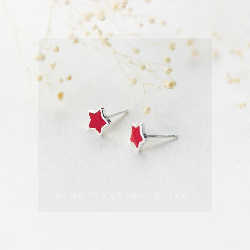 Sterling Silver Enamel Red Star Stud Earrings - 925 Real Silver Earrings - Stylish Silver Earrings - Glaze Star Earrings Lux & Rose