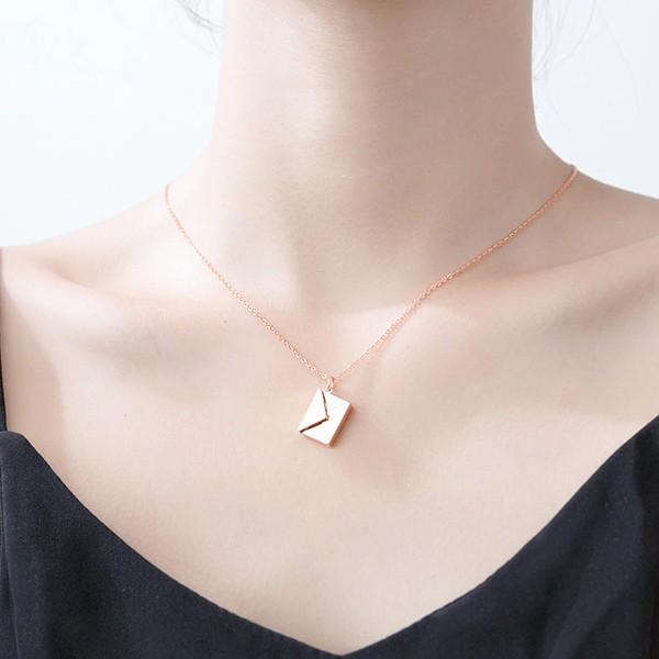 Sterling Silver Envelope Pendant Necklace - 925 Real Silver Necklace - Classic Silver Necklace Lux & Rose
