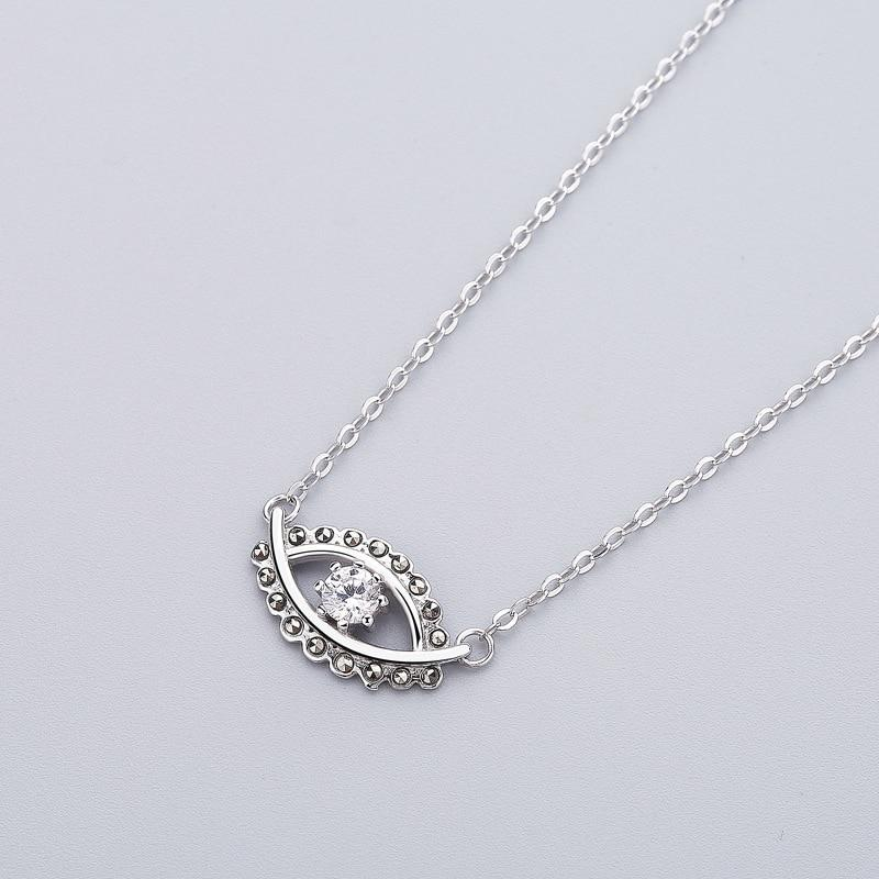 Sterling Silver Eye of Angel Zircon Pendant Necklace - 925 Real Silver Necklace - Classic Silver Necklace - Cubic Zirconia Necklace Lux & Rose