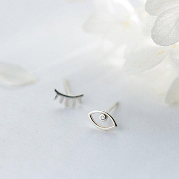 Sterling Silver Eyebrow Eye Stud Earrings - 925 Stud Earrings - 925 Real Silver Stud Earrings - Eyebrow Eye Earrings - Eyebrow Stud Earrings - Eye Stud Earrings Lux & Rose