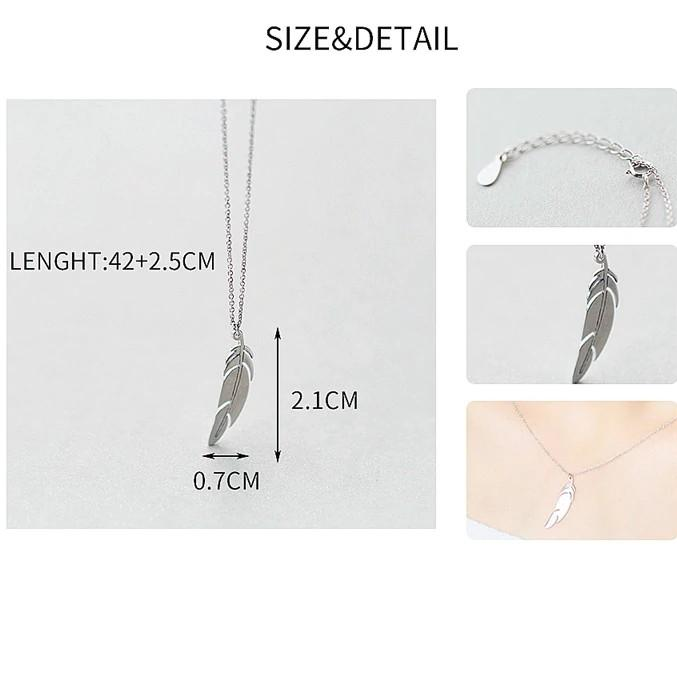 Sterling Silver Feather Pendant Necklace - 925 Real Silver Necklace - Classic Silver Necklace Lux & Rose